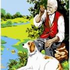 Canevas Complet Vieil homme et son chien
