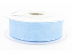 Ruban organdi 7mm bleu clair