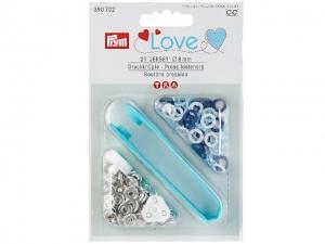 Boutons pression Prym Love jersey 8mm, bleu / bleu clair / blanc