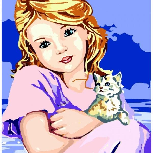 Canevas Complet Fillette et chaton
