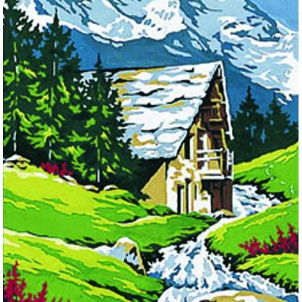Mercerie canevas 40x50 cm - Dessin de chalet de montagne ...