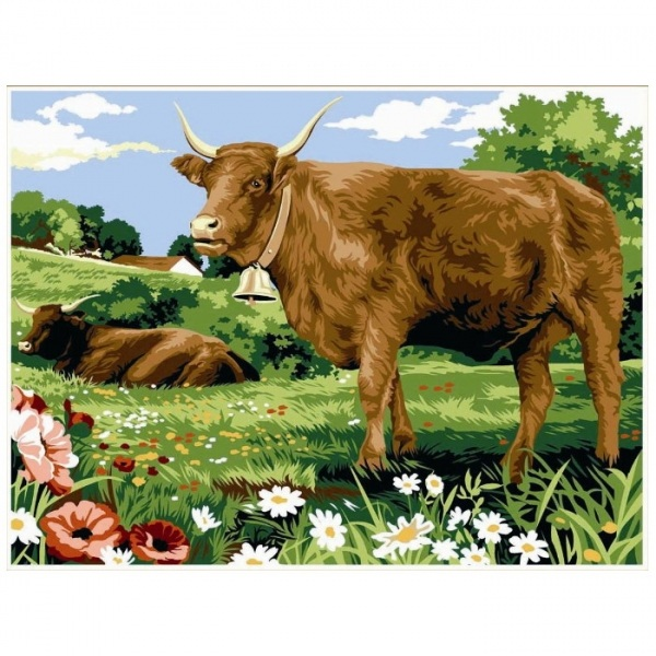 Canevas Complet Vache prairie