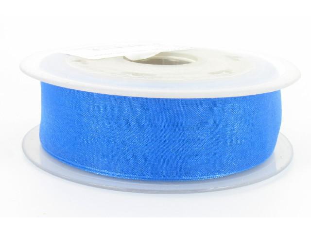 Ruban organdi 25mm bleu horizon