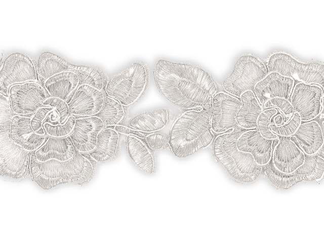 """Galon """"Tissus Fleurs"""" 65mm argent"""