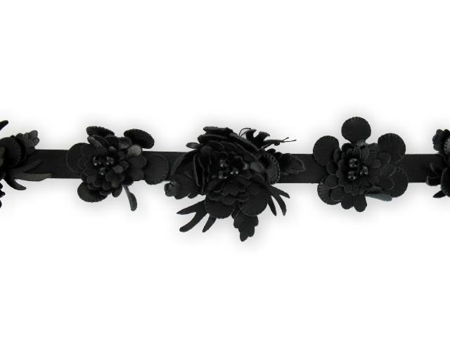 """Galon """"fleurs simili-cuir"""" 20mm noir"""