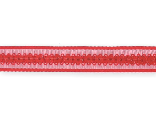 """Galon """"paillettes sur bande élastique"""" rouge 13mm"""
