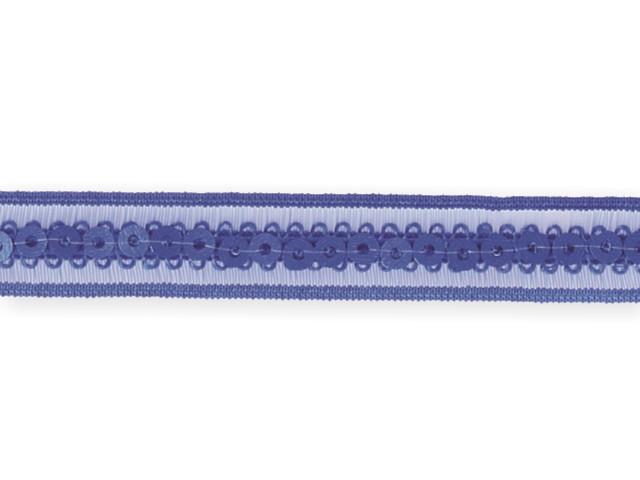 """Galon """"paillettes sur bande élastique"""" bleu 13mm"""
