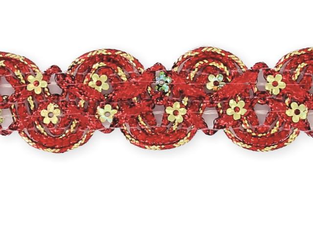 """Galon """"croquet paillettes fleurs"""" rouge"""