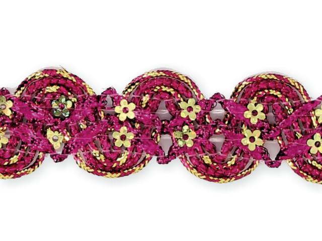 """Galon """"croquet paillettes fleurs"""" fuschia"""