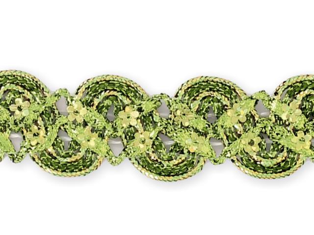 """Galon """"croquet paillettes fleurs"""" vert"""