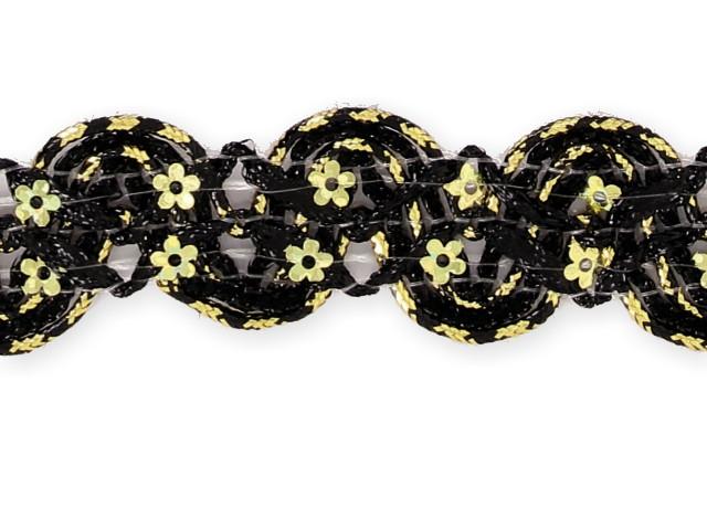 """Galon """"croquet paillettes fleurs"""" noir"""