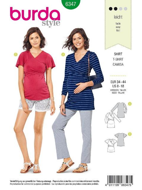 Patron Burda 6347 - T-shirt pour femmes enceintes de 36 à 46
