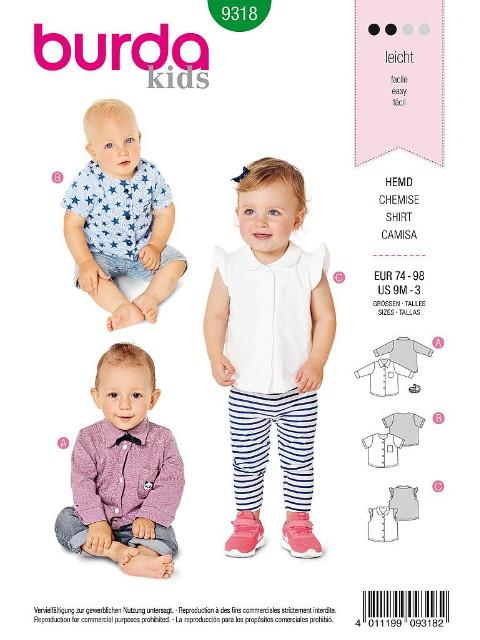 Patron Burda 9318 - Haut pour bébés de 9 mois à 3 ans