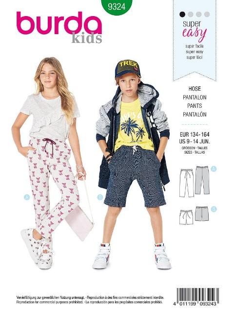 Patron Burda 9324 - Pantalon et short pour enfants de 9 à 14 ans