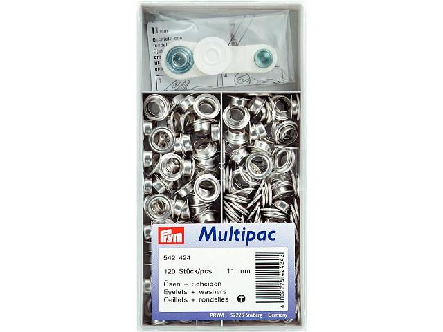 Multipac de 120 oeillets 11mm argent