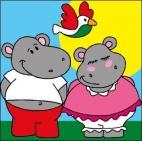 Canevas Couple Hippo
