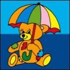 Canevas Ours Parapluie