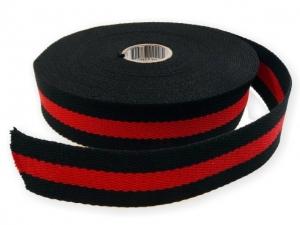 Sangle Coton 30mm noir/rouge