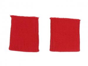 x3 Bord côte poignets rouge