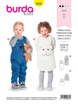 Patron Burda Kids 9330 Salopette et robe
