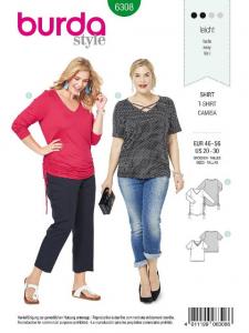 Patron Burda 6308 - T-shirt pour femmes de 48 à 58