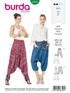 Patron Burda 6316 - Pantalon pour femmes de 34 à 48