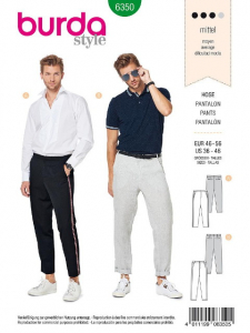 Patron Burda 6350 - Pantalon pour hommes de 48 à 58