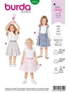 Patron Burda 9319 - Jupe pour filles de 2 à 7 ans
