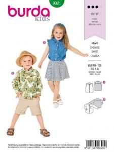 Patron Burda 9321 - Chemise pour enfants de 3 à 8 ans