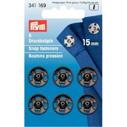 Boutons pression à coudre 15 mm noir