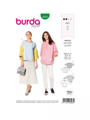 Patron Burda 6203 Sweat