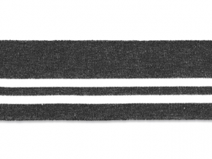 Bord cote polo gris anthracite rayé blanc