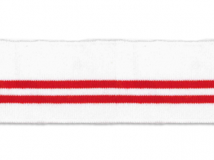 Bord cote polo blanc rayé rouge