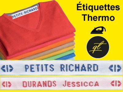 Etiquettes de noms tissés thermocollant