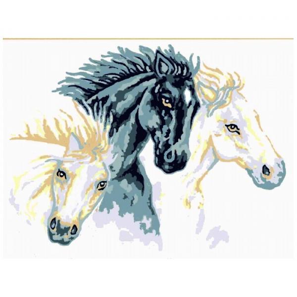 Canevas Complet deux chevaux blanc un etalon