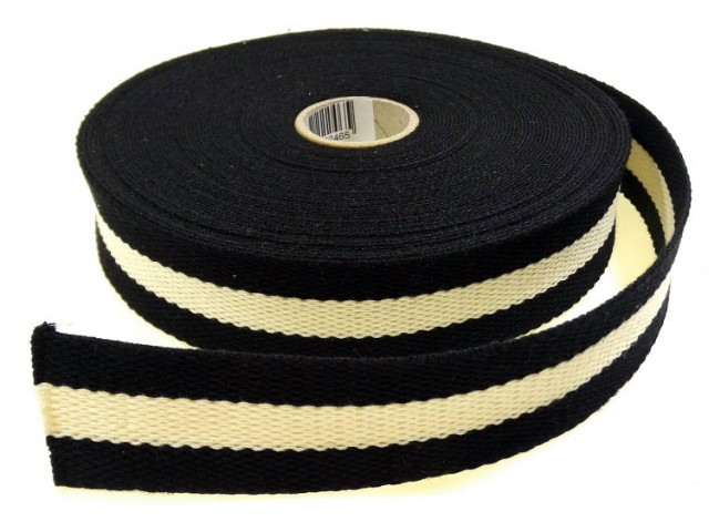 Sangle Coton 30mm noir/écru