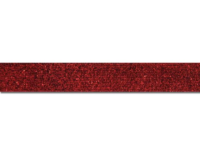 Ruban velours métallisé 15 mm rouge