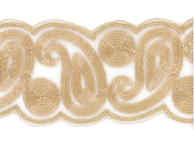 "Galon métallisé ""Labyrinthe"" 75mm doré"