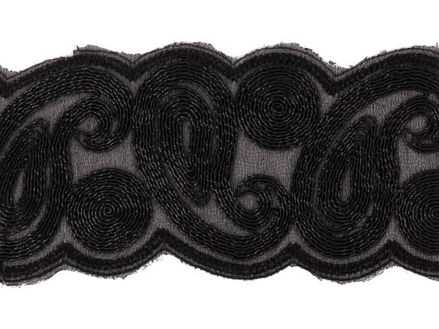 "Galon métallisé ""Labyrinthe"" 75mm Noir"