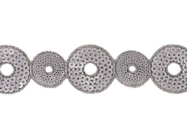 """Galon """"Cercles"""" 40 mm gris"""