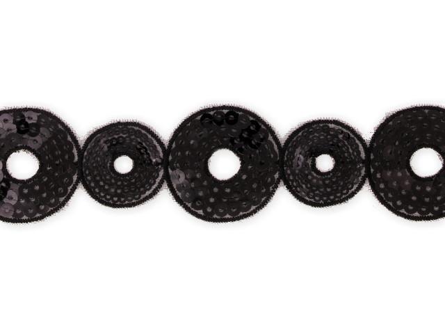"""Galon """"Cercles"""" 40 mm noir"""