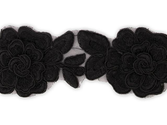 "Galon ""Tissus Fleurs"" 65 mm Noir"