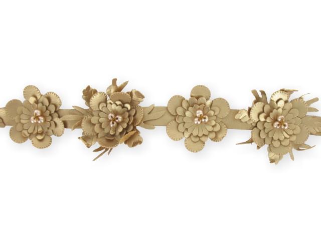 "Galon ""fleurs simili-cuir"" 20mm or"