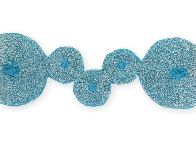 """Galon """"Cercle Thermo"""" 65mm bleu turquoise"""