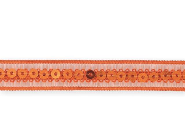 """Galon """"paillettes sur bande élastique"""" orange 13mm"""