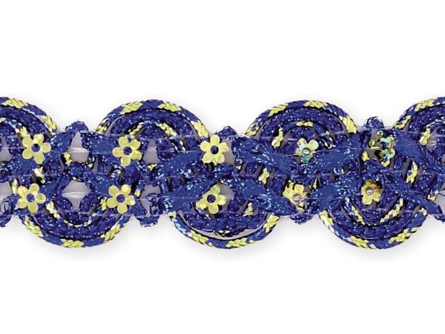 """Galon """"croquet paillettes fleurs"""" bleu"""