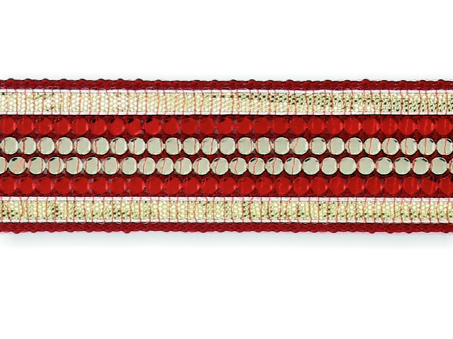 """Galon """"Strass 4 rang"""" rouge"""
