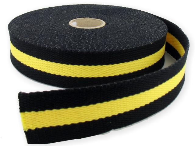 Sangle Coton 30mm noir/jaune