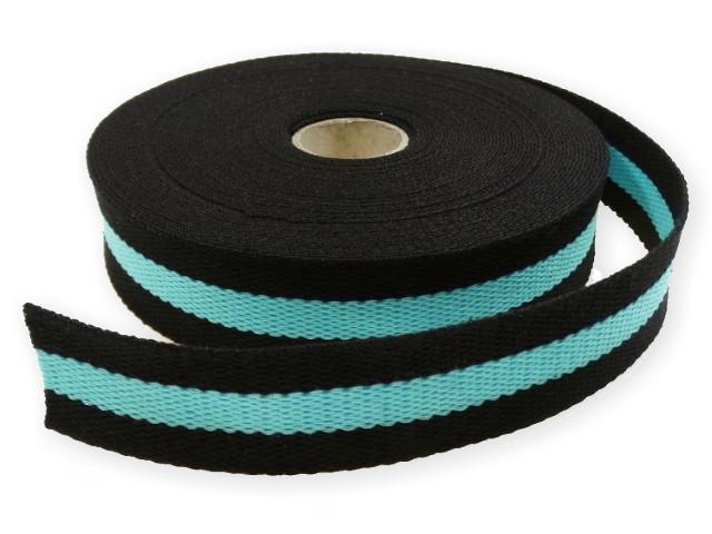 Sangle Coton 30mm noir/turquoise