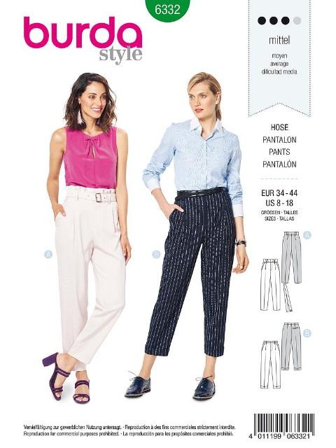 Patron Burda 6332 - Pantalon pour femmes de 36 à 46